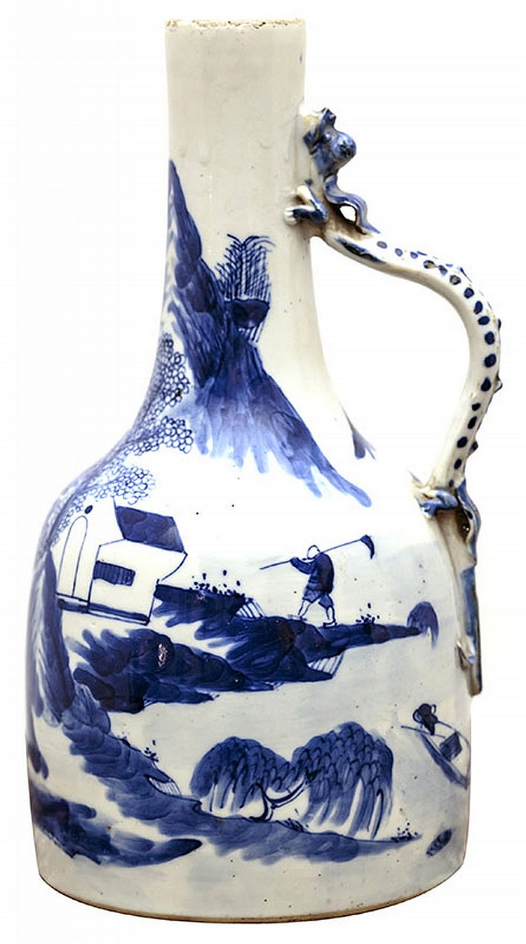 A white and blue porcelain vase, China, Ming Dynasty, 17th century