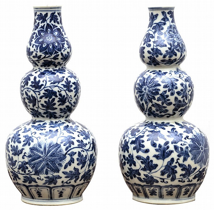 Couple white and blue porcelain vase with floral decoration , China, end of 18th century