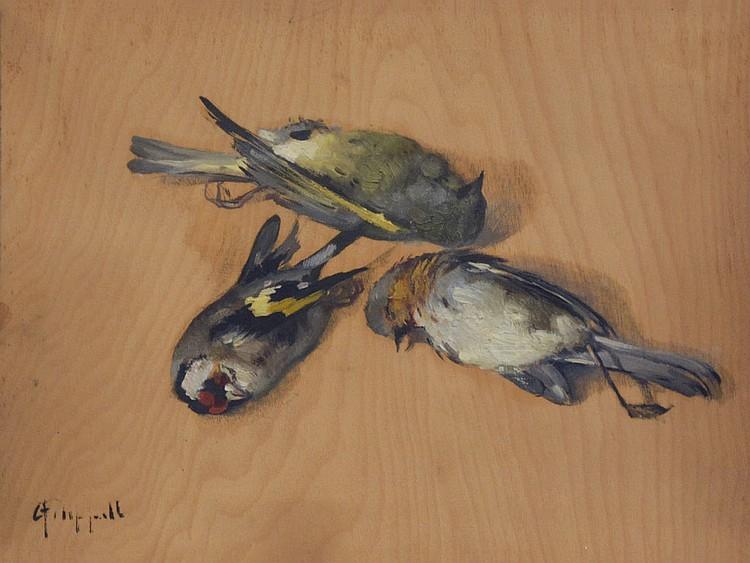 Cafiero Filippelli (Livorno, 1889 - 1973), Three goldfinches