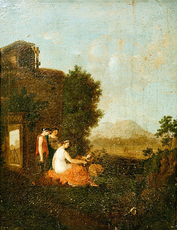 Italian School of the XVIIIth century, Bucolic landscapes with figures