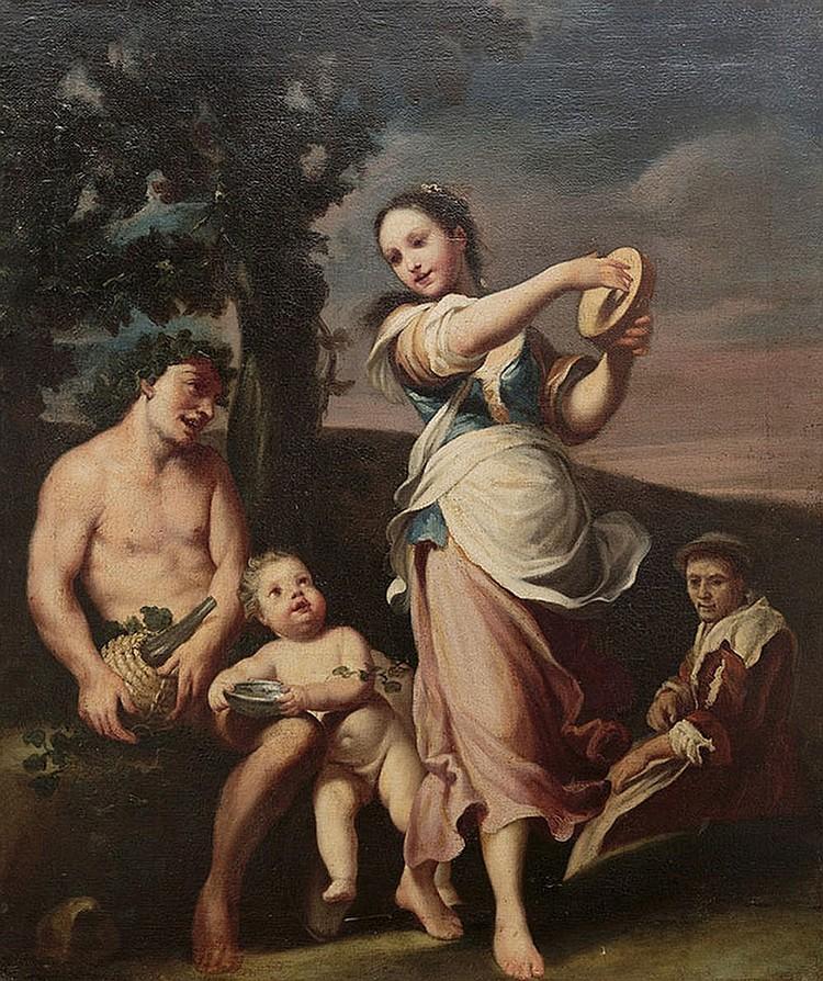 Circle of Giuseppe Gambarini (Bologna 1680 - Casalecchio di Reno 1725) Dancer with a faun