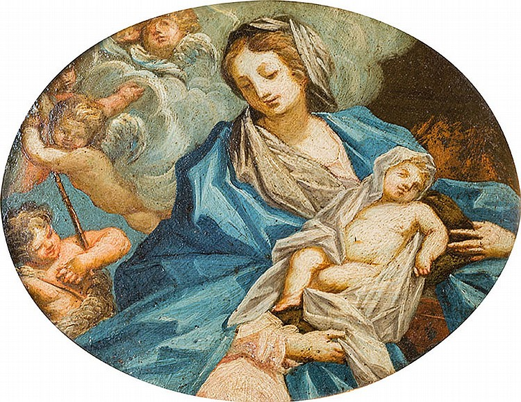 Emilian School of the XVIIth century, Virgin with Child and Angels