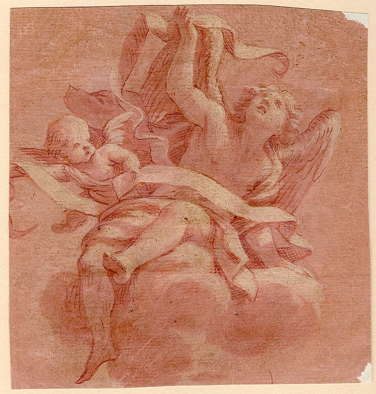 Napoletan school, 18 century Study of an angel with putto