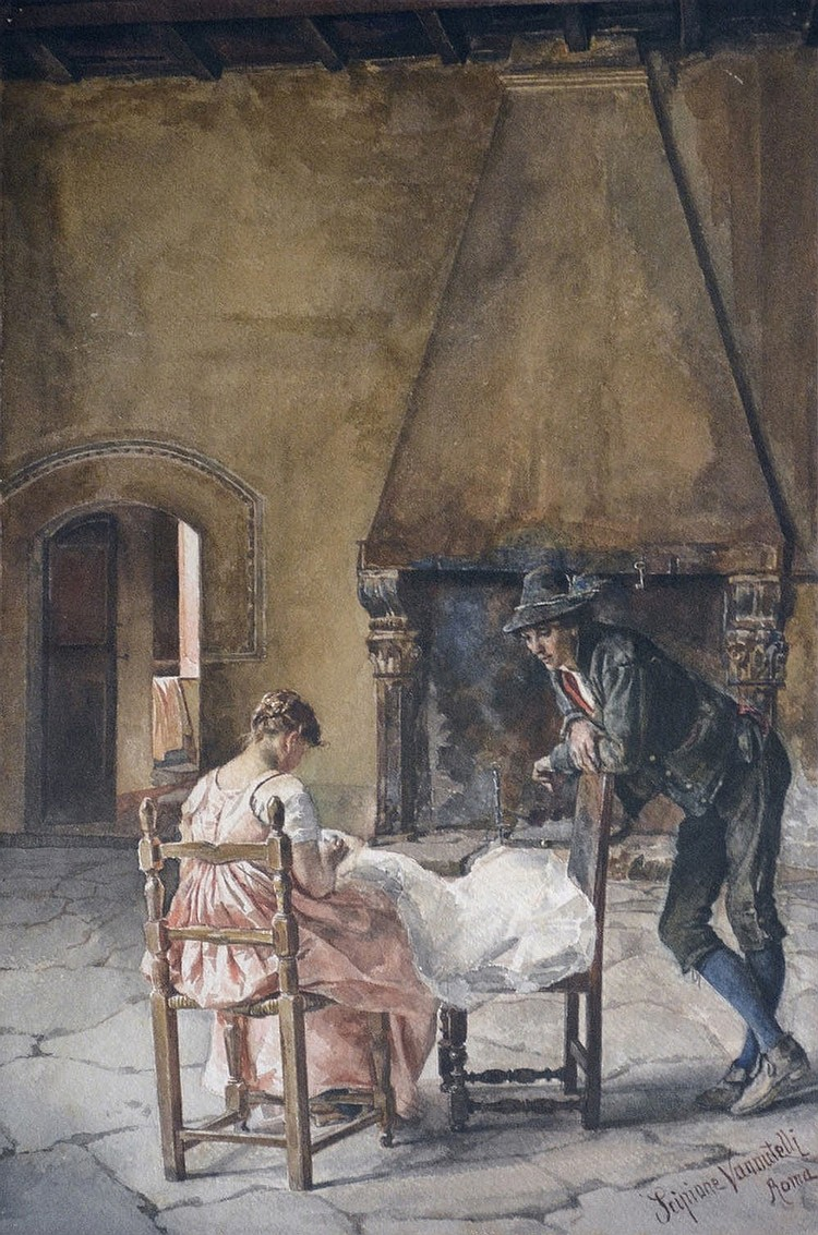 Scipione Vannutelli (1834-1894), Two lovers, Watercolor