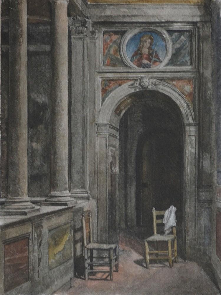 Scipione Vannutelli (1834-1894) Two chairs, Watercolor