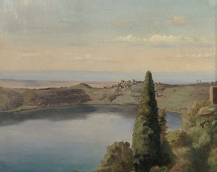 Painter of the first half of the XIX century. View of Nemi lake