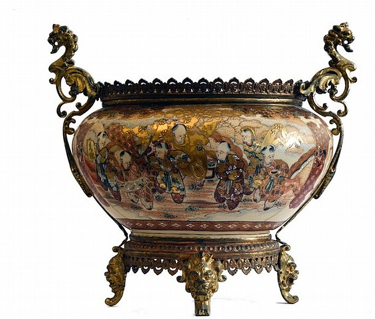 Ceramic and Gilded Bronze Shaped Centerpiece Japan 19th Century