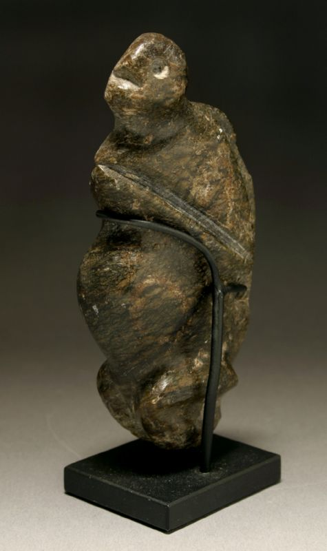 A PRE-COLUMBIAN MEZCALA STONE FIGURE OF A MONKEY