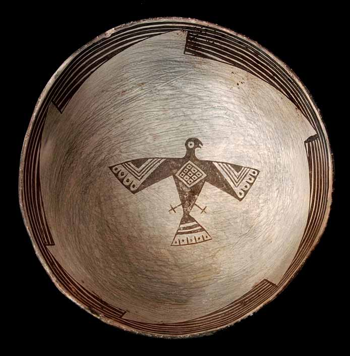 A MIMBRES FIGURAL BOWL WITH EAGLE EFFIGY, BLACK ON  WHITE TYPE.