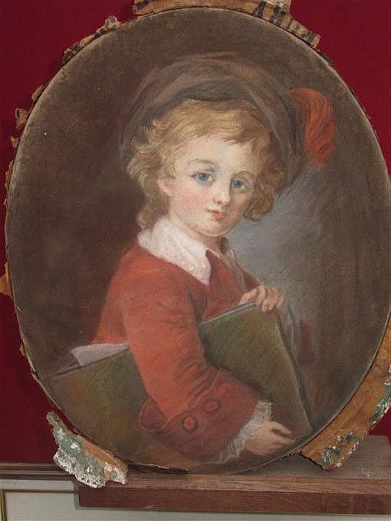 Attr. Henry R. Cook (XIX ème)  Portait d'enfant en buste  Pastel, 47 x 37