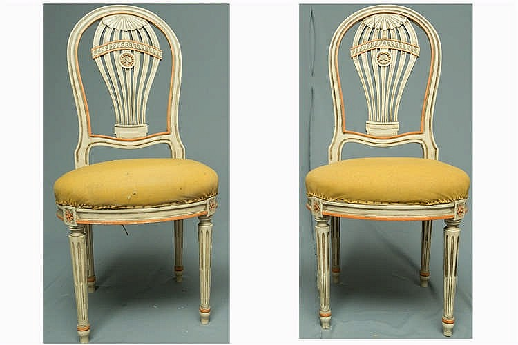 paire de chaises style louis xvi dossier montgolfi re en b. Black Bedroom Furniture Sets. Home Design Ideas