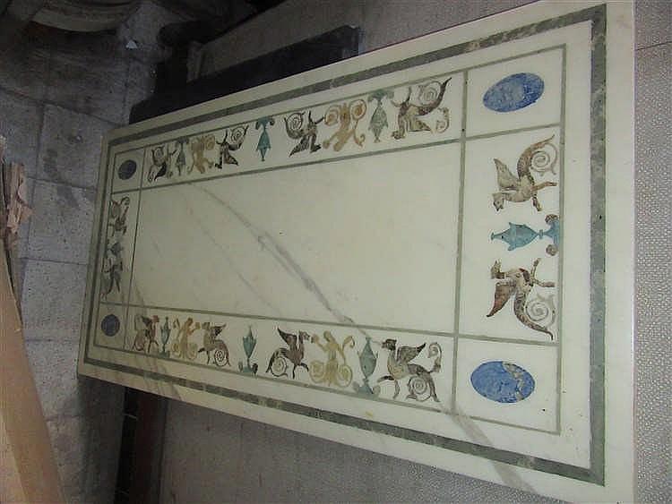 Plateau de table en marbre d cor peint imitant la scagliol - Table bistrot plateau marbre rectangulaire ...