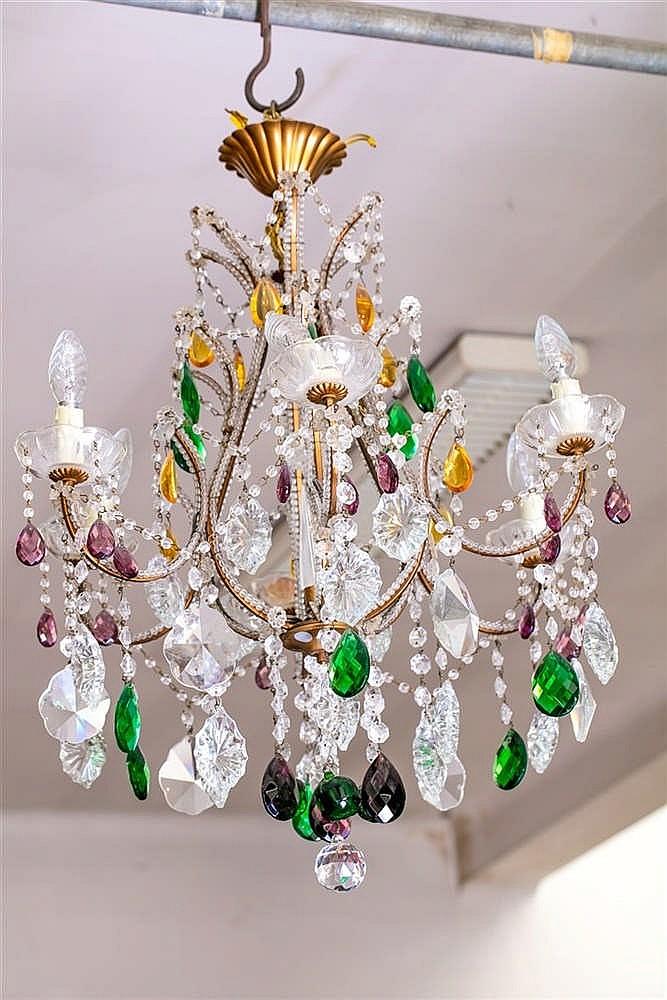 Attr maison bagues lustre 6 bras de lumi re pampilles e - Lustre pampilles cristal ...