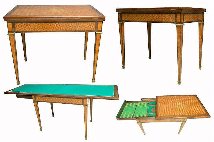 Table jeux style louis xvi en bois de placage plateau re - Table bois rectangulaire ...