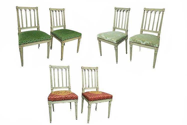 suite de 6 chaises louis xvi dossier colonnettes en bois. Black Bedroom Furniture Sets. Home Design Ideas