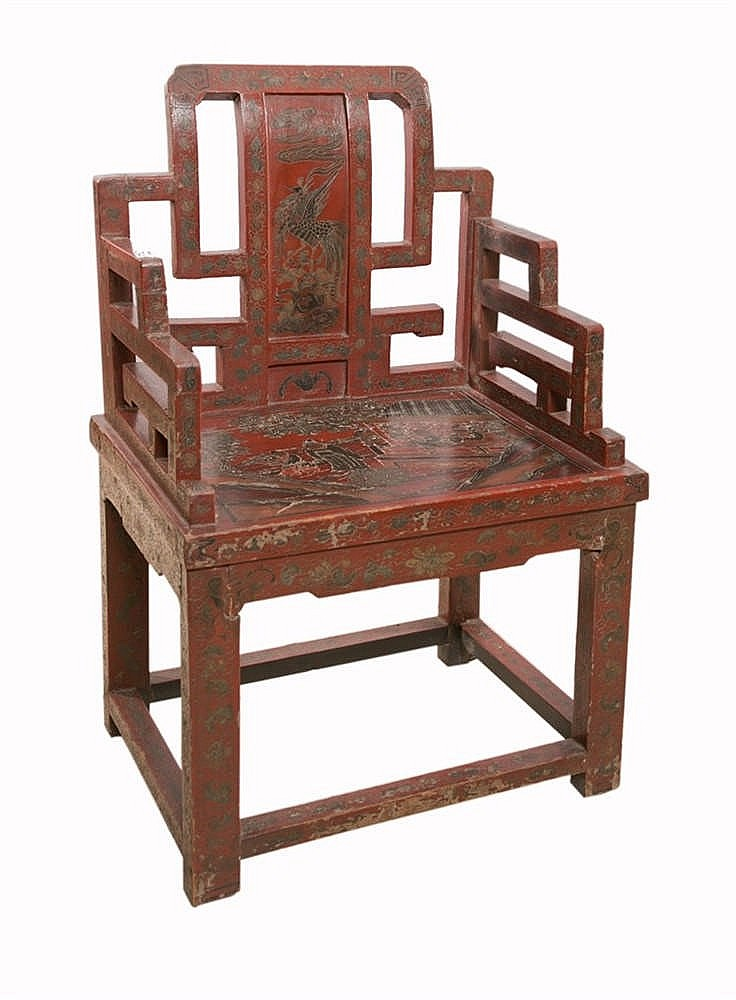 Chaise en laque rouge et polychrome d cor de sc ne anim s - Chaise paysanne rouge ...