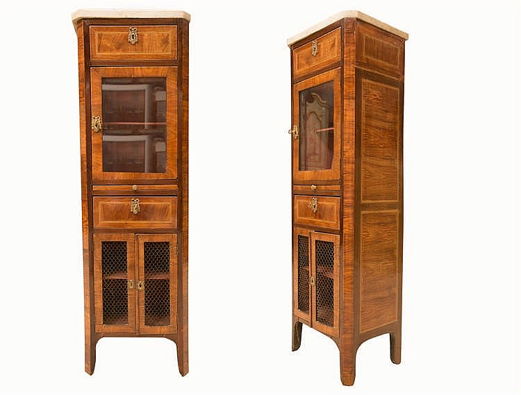 meuble vitrine en bois de placage style louis xvi ouvrant. Black Bedroom Furniture Sets. Home Design Ideas
