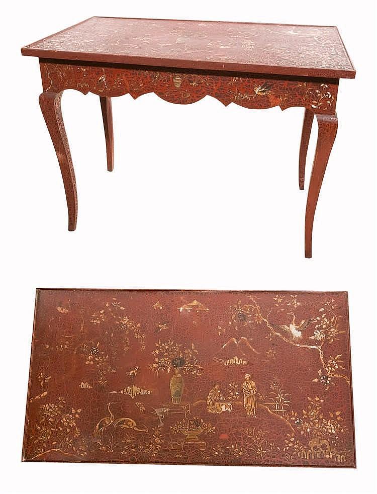 Table style louis xv en laque style chine d cor de sc nes for Table de chine
