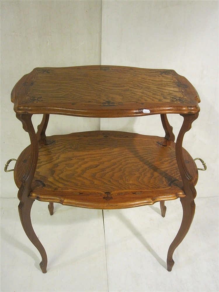Table a deux plateaux marquetes art nouveau - Table basse deux plateaux ...