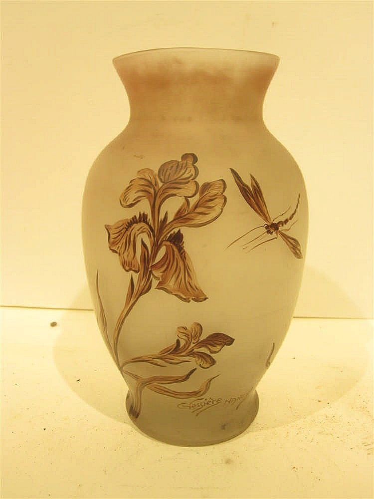 Vessiere Nancy Vase En Verre Peint A Decor D 39 Iris Et Libell