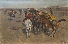 Franz ROUBAUD (1856-1928). RUSSIAN PAINTER.  TURKESTAN. EQUESTRIAN RACES BUZKASHI (KOKPAR).