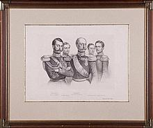 GROUP PORTRAIT « RUSSIAN EMPEROR NICHOLAS I AND HIS SONS - THE FUTURE EMPEROR ALEXANDER II, GRAND DUKES MIKHAIL NIKOLAYEVICH, NIKOLAI NIKOLAYEVICH AND KONSTANTIN NIKOLAYEVICH».