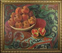 Sergey KOLYBANOV (1898-1975). RUSSIAN PAINTER. STILL LIFE. POMEGRANATES.