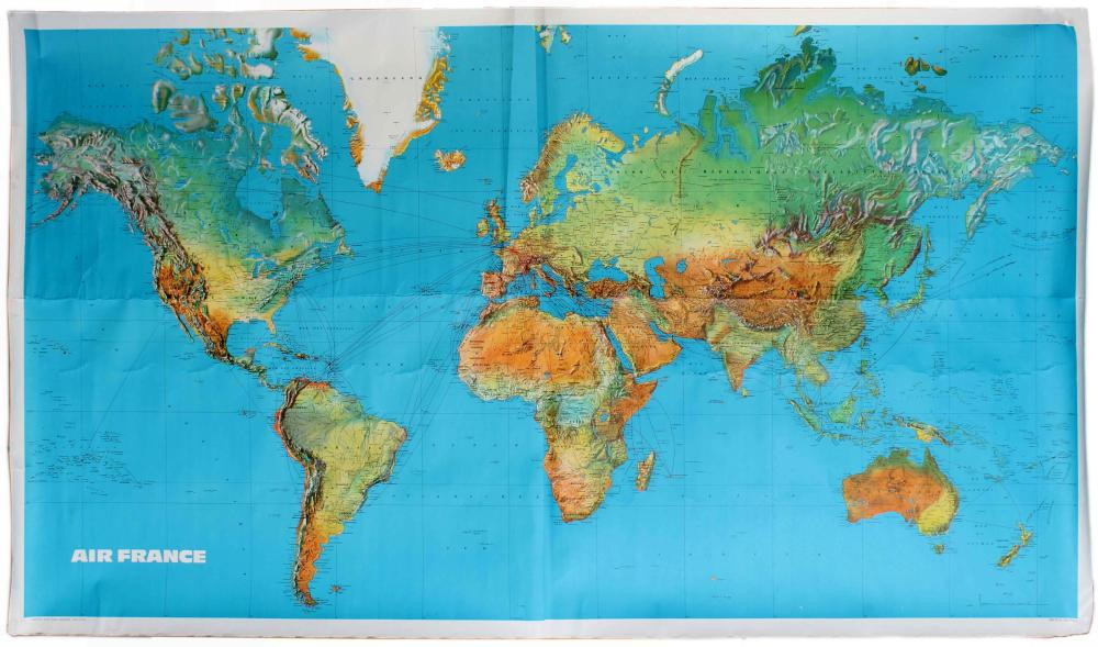 Travel Poster Air France Airline Route Map Planisphere