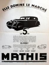ADVERTISING POSTER ART DECO CAR MATHIS LA 5CV