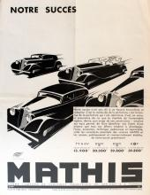 ADVERTISING POSTER ART DECO CAR MATHIS FOUR MODELS