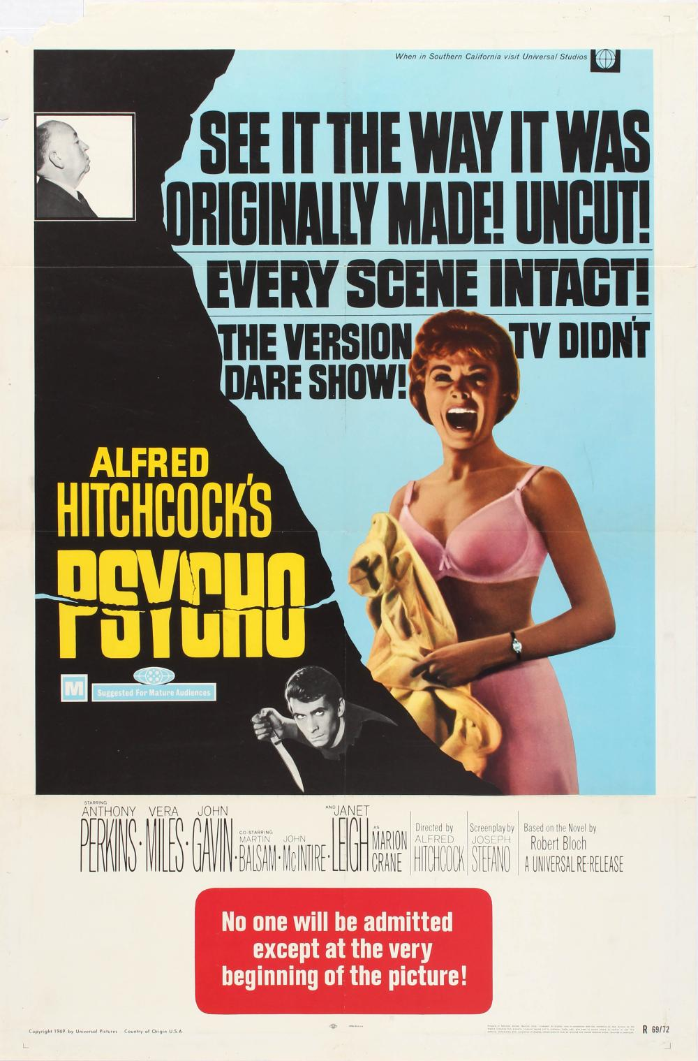 MOVIE POSTER ALFRED HITCHCOCK PSYCHO UNCUT VERSION