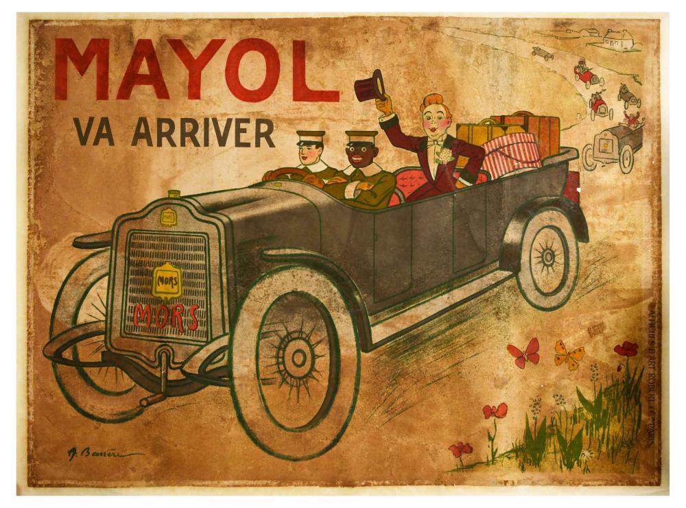 Advertising Poster Felix Mayol Mors Barrere Vintage Automobile
