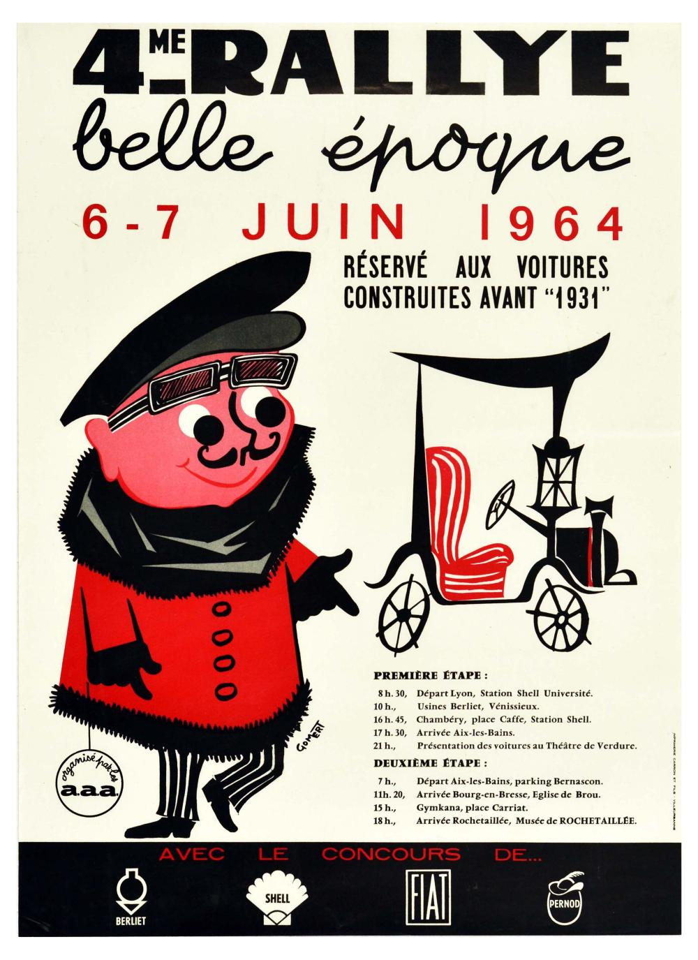 Advertising Poster Rally Belle Epoque Vintage Car Lyon Rochetaillee