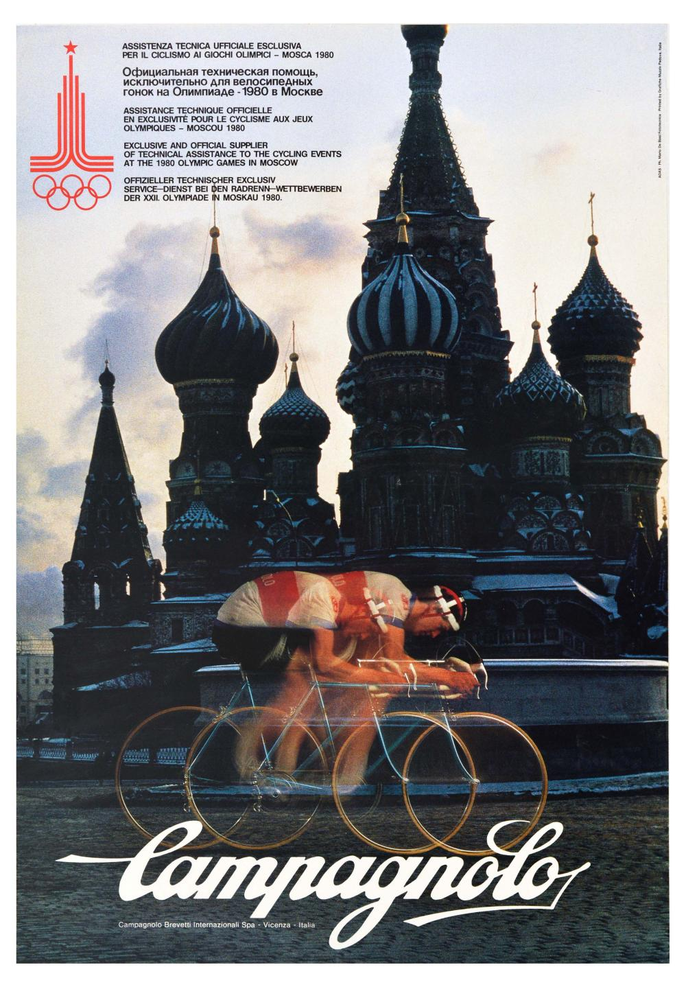 Advertising Poster Campagnolo Cycling Moscow Olympics Red Square