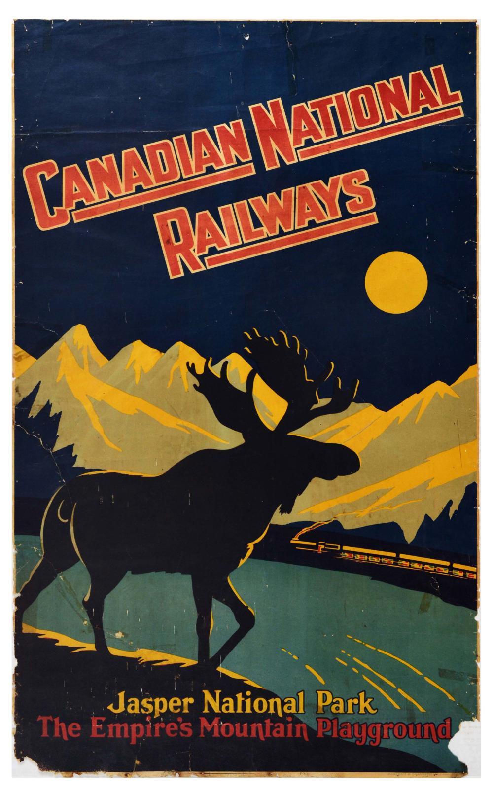 Travel Poster Canadian National Railways Jasper National Park Moose Moon