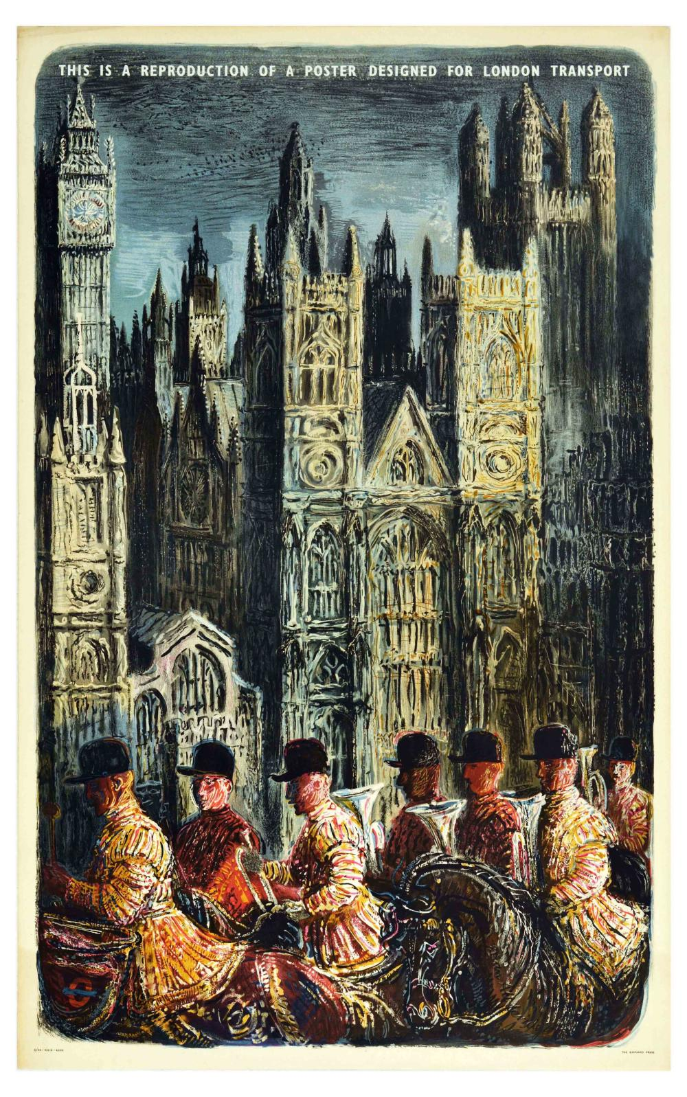 Travel Poster London Underground Westminster Abbey Royal Guard