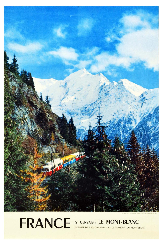 Travel Poster St Gervais Mont Blanc Alps Ski France