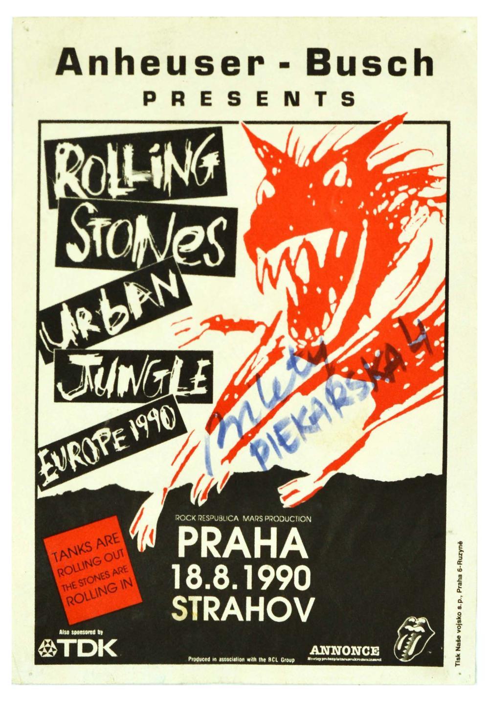 Music Poster Rolling Stones Urban Jungle Prague Europe Tour Rock Music