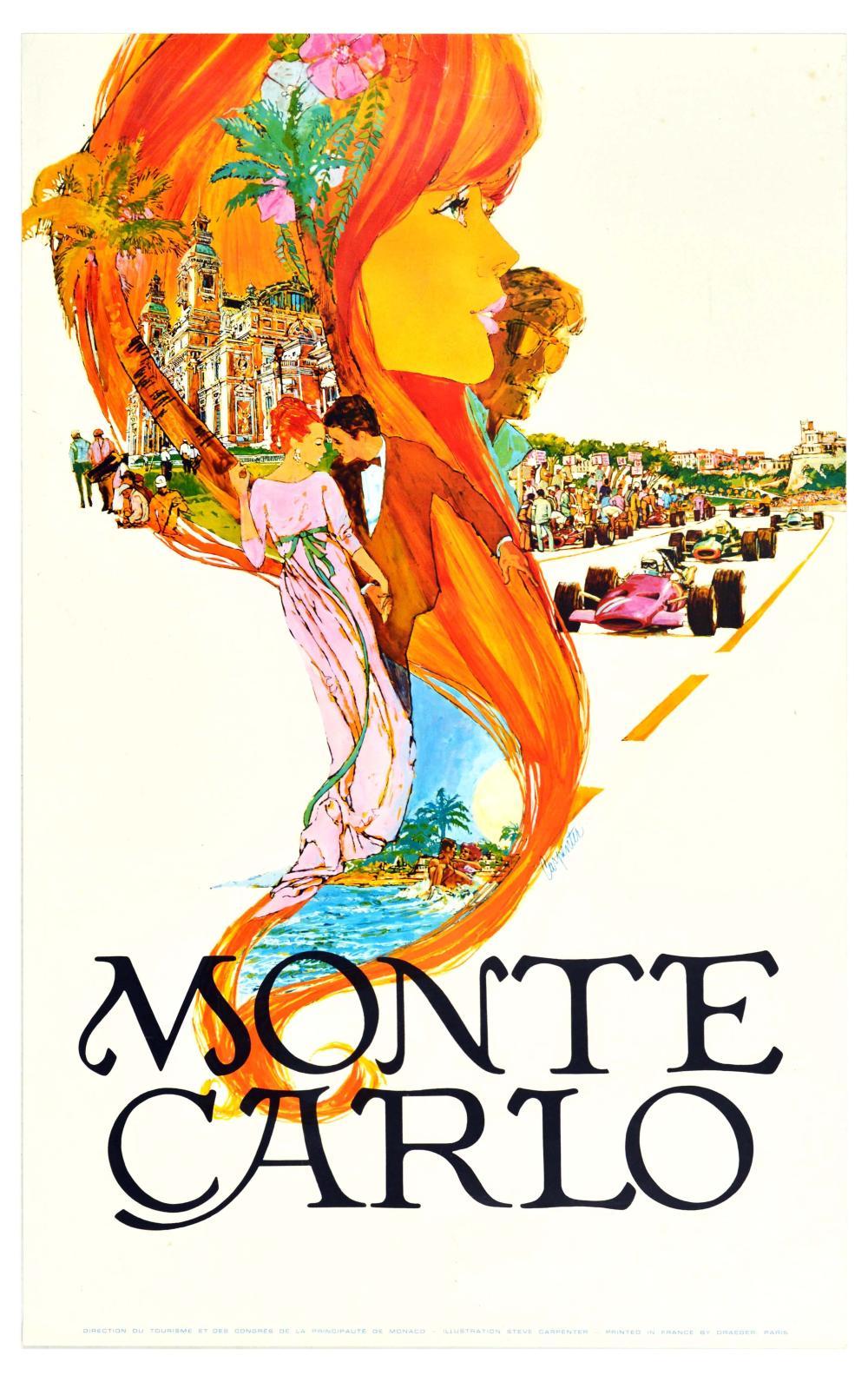 Travel Poster Monte Carlo Formula One Grand Prix Casino F1 Carpenter