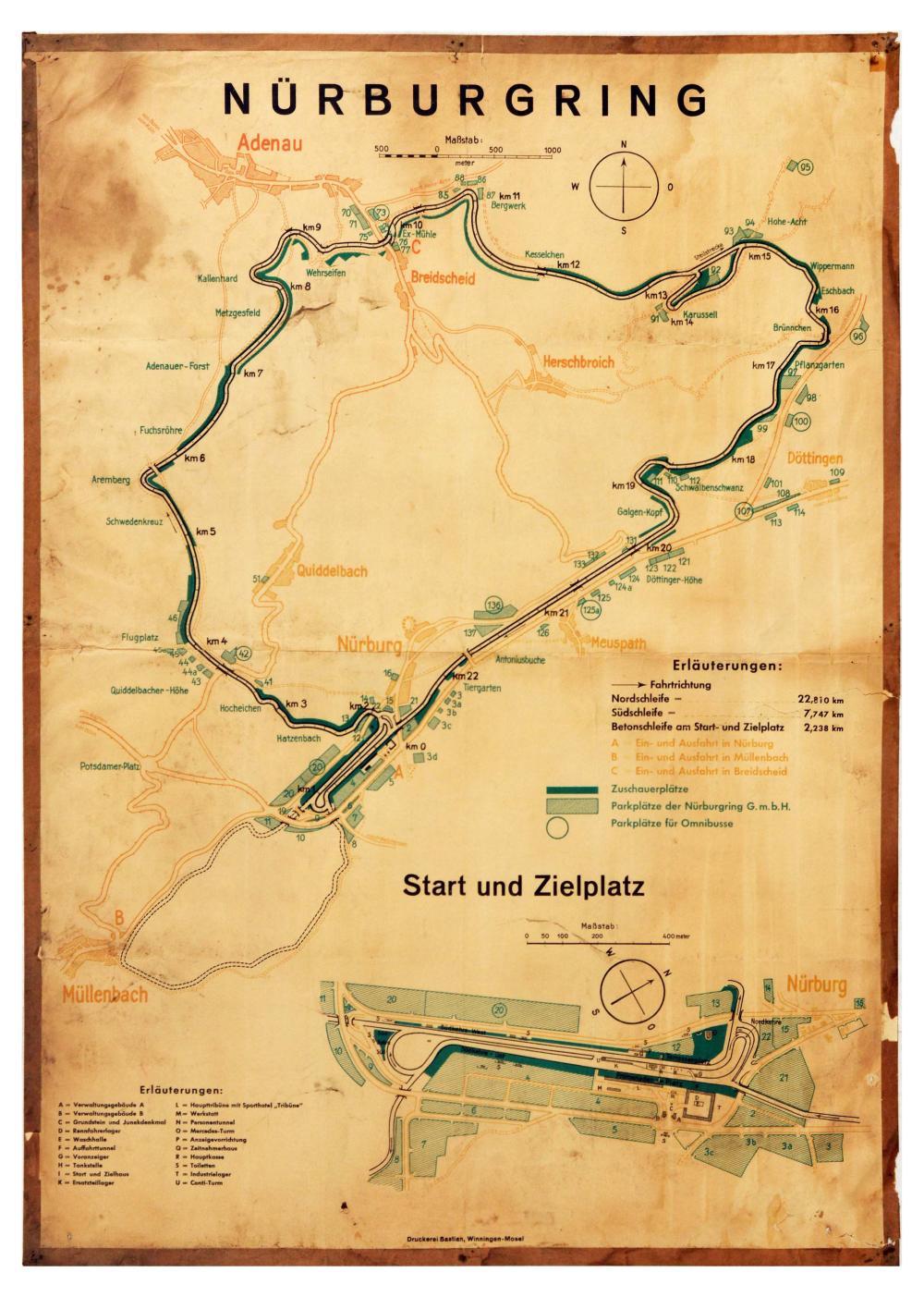 Sport Poster Nurburgring Racing Circuit Map North South Concrete Loop