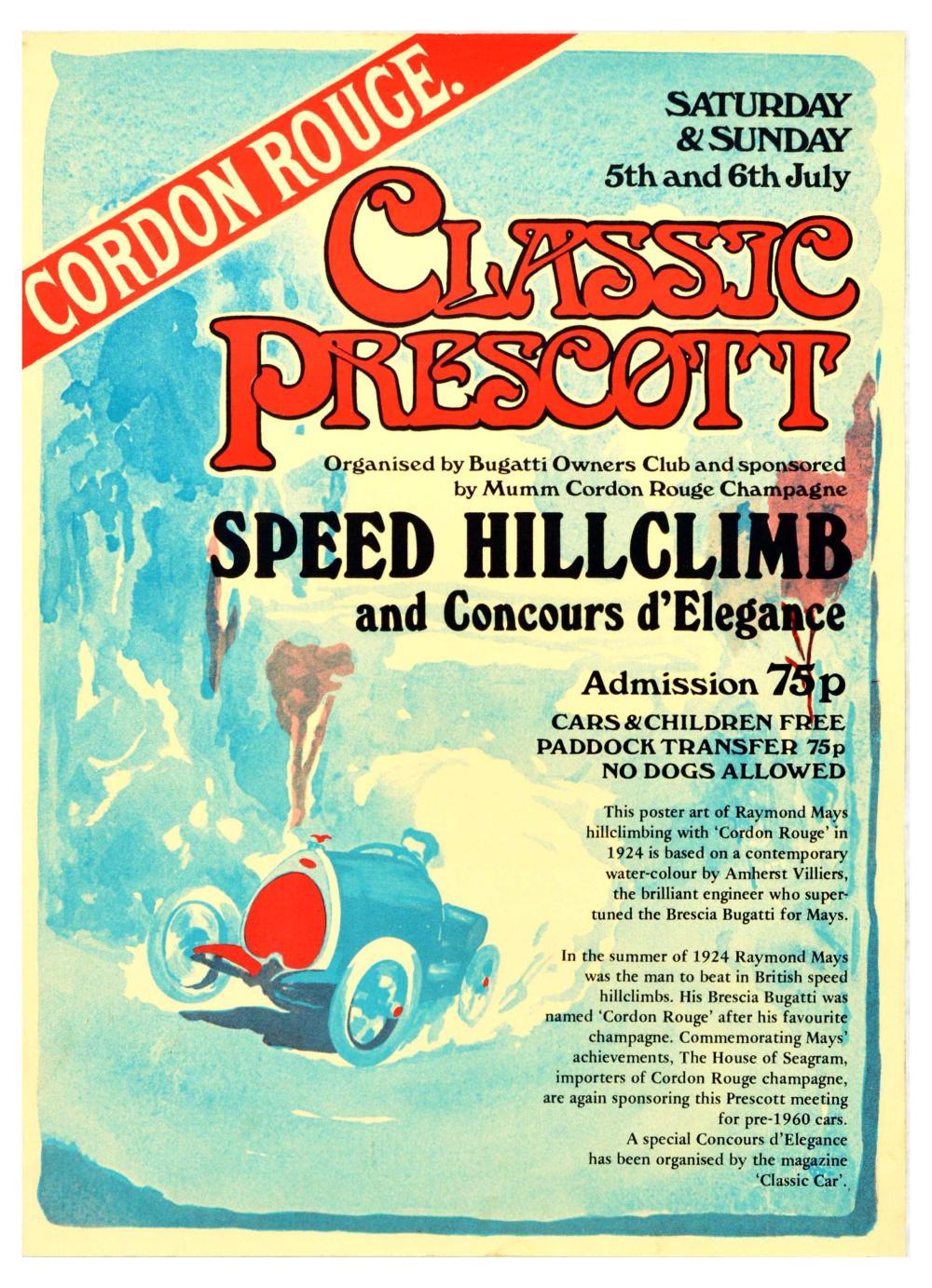 Sport Poster Classic Prescott Bugatti Hillclimb Cordon Rouge Champagne