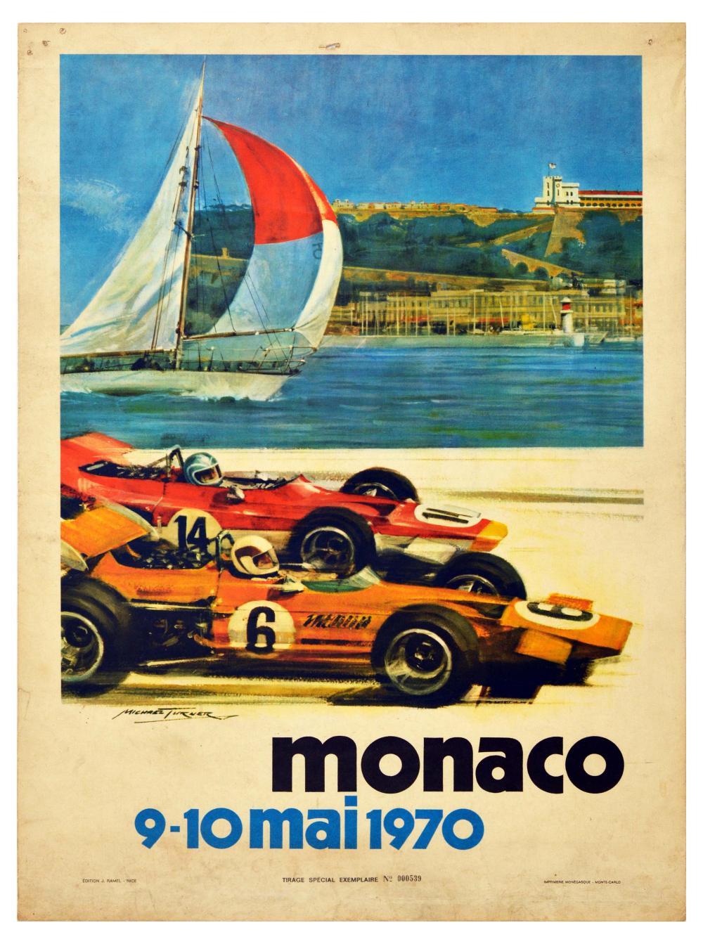 Sport Poster Formula One Monaco Grand Prix 1970 Turner