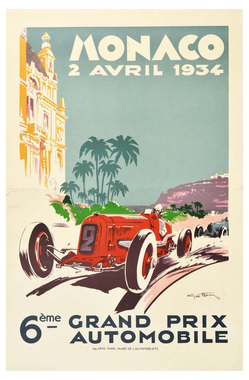 Sport Poster Monaco Grand Prix 1934 Motor Racing Geo Ham