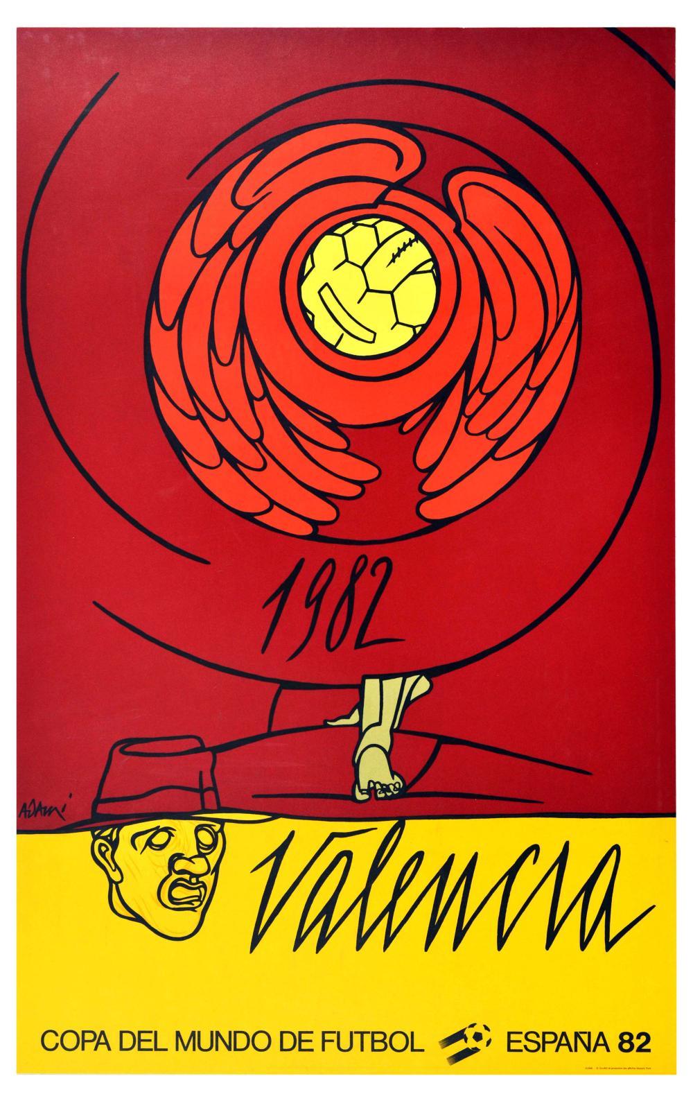 Sport Poster FIFA Football Cup 1982 Valencia Spain Valerio Adami