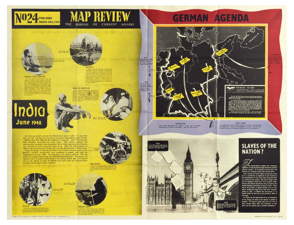 Propaganda Poster Map Review 24 India Independence Germany Parliament Education Act 1944