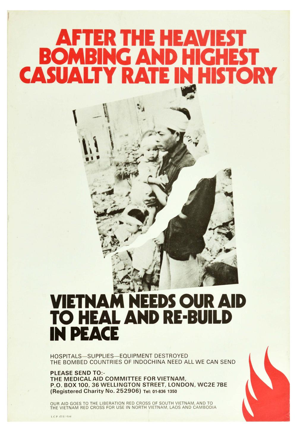 Propaganda Poster Vietnam War Aid Indochina Bomb
