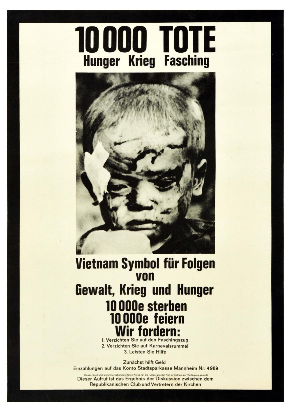 War Poster Vietnam War Protest Artrocities USA Hunger