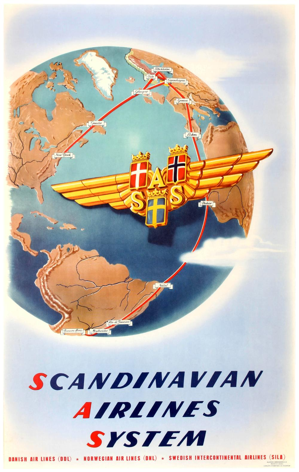 TRAVEL POSTER SCANDINAVIAN AIRLINES SYSTEM SAS ROUTE MAP on israel airlines route map, biman route map, air china route map, burlington route map, aegean route map, air new zealand route map, american route map, pan mass route map, air berlin route map, saudi arabian airlines route map, etihad airways route map, united route map, syrian airlines route map, croatia airlines route map, alitalia route map, cubana airlines route map, estonian air route map, air india route map, luxair route map,