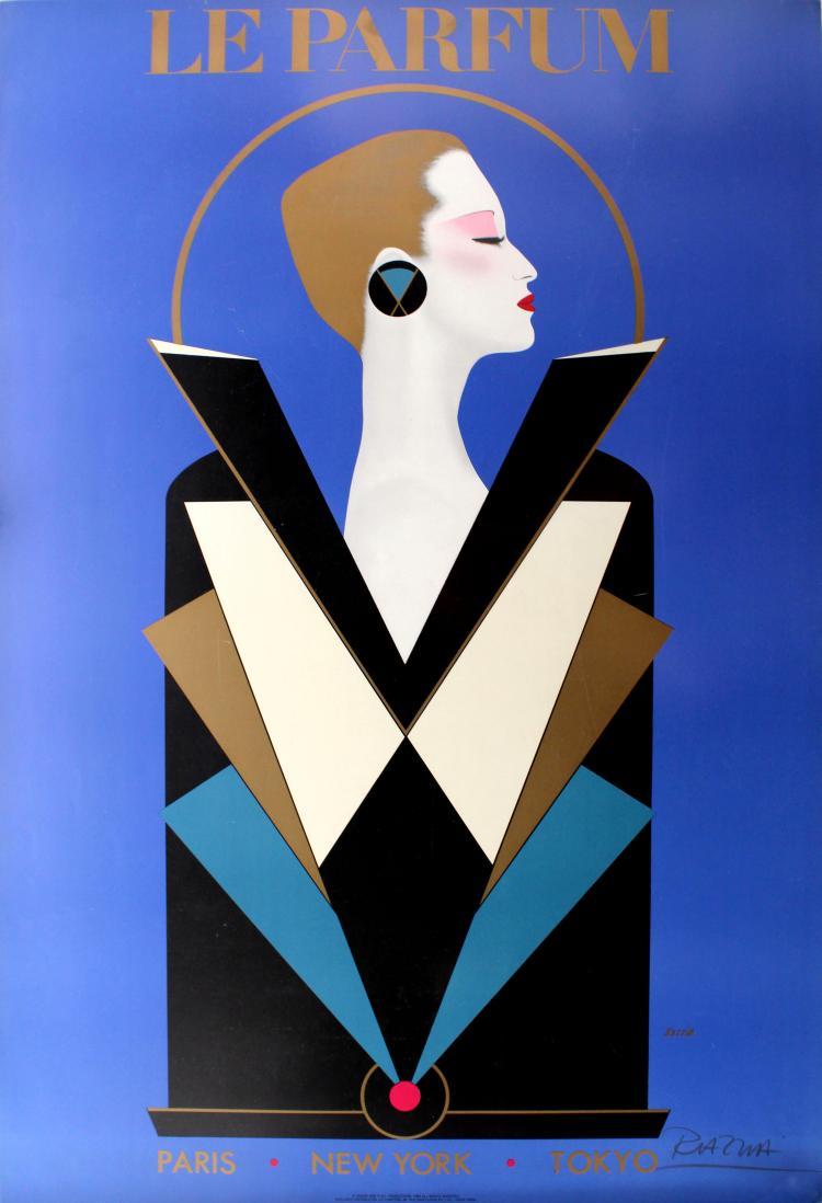 Art Deco Poster New York.Advertising Poster Le Parfum Razzia Signed Art Deco