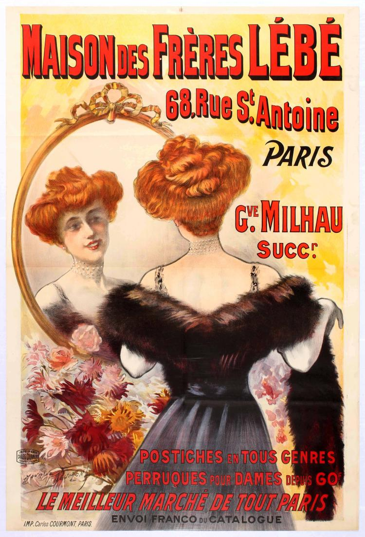 Original Advertising Poster Wigs Hairpieces Belle Epoque Fra